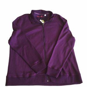 NEW Robert Graham Purple Full Zip Sweatshirt 100% Cotton Size 3XL Classic Fit